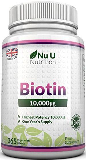 ofertas para - biotina 10000 mcg 365 comprimidos suministro anual complemento alimenticio para la caída del cabello nu u nutrition
