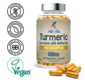 Comprar Cúrcuma Curcumina 600mg con BioPerine® 180 Cápsulas Vegetarianas y Veganas de Eficacia Óptima y Alta Absorción, de Rite Flex opinión