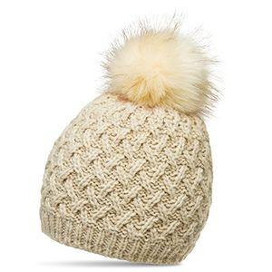 caspar mu177 damen winter mütze strickmütze bommelmütze mit großem fellbommel farbebeigegrößeone size