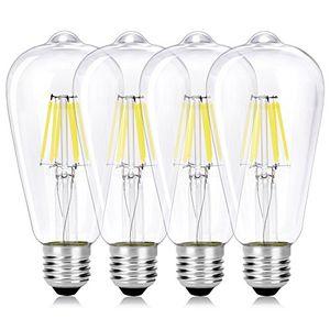 wedna 4er pack vintage edison led glühbirne e27 st64 antike led filament lampe ersetzt 60w 6w 6000k kaltweiß nicht dimmbar ideal für nostalgie und retro beleuchtung