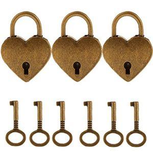 Angebote für -3 stücke antik vintage mini herzform vorhängeschloss mit 6 stücke schlüssel set für partei geschenk dekoration