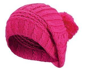 Angebote für -damen herren winter strickmütze bommelmütze grobgestrickte wintermütze mit zopfmuster pompom mütze mit bommel pink