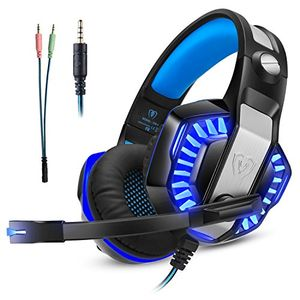 gaming headset kopfhörer gamer mit mikrofon micolindun für pc ps4 xbox one laptop tablet mac handy mit led extremer komfort bass stereo sound inkl adapter