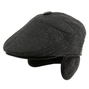 deals for - siggi schwarze warme wolle baseballcap wintermütze mit ohrschutz schirmmütze mit visor für herren