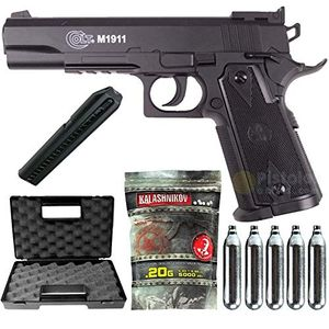 airsoft pack colt 1911 match co2 cybergun 180306 semi automatik 05 joule mit zubehör