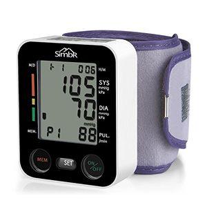 SIMBR Tensiómetro de muñeca Monitor de presión arterial Alta precisión y fiabilidad Gran pantalla LCD 90 grupos de datos con memorias para 2 Usuarios Color Negro Guía