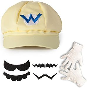 Top katara 1659 wario set mütze schnurrbart handschuhe kostüm verkleidung fasching karneval halloween hellbeige