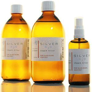 Plata coloidal PureSilverH2O© 1100ml / 2 x Botellas (500 ml cada/10ppm) Plata coloidal + Spray (100ml/10ppm) Hot oferta