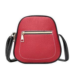 Top damen pu ledertasche handy paket umhängetasche farbmischung multi tasche schultertasche rot
