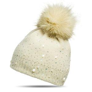 deals for - caspar mu143 damen fein strick winter mütze mit fellbommel farbebeigegrößeone size