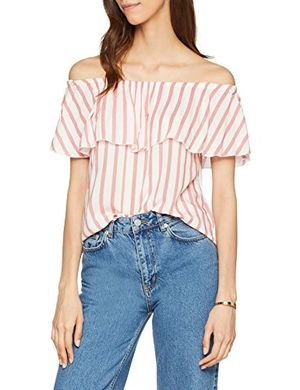 Angebote für -only damen bluse onlcandy offshoulder top wvn mehrfarbig cloud dancer stripes mars red 40