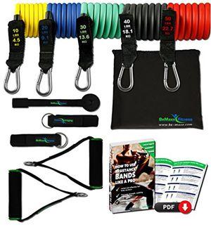 ofertas para - juego de bandas de resistencia elásticas guía de ejercicios cintas profesionales 5 tubos de látex tobillera anclaje para puerta asas acolchadas fitness gimnasio crossfit culturismo