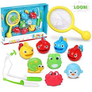 Angebote für -loori badewannenspielzeug baby 11tlg badespielzeug wasserspielzeug mit 4 spray wasser schwimmen und 7 spielzeug zum angeln für baby kinder ab 6 monate für badewanne dusche pool