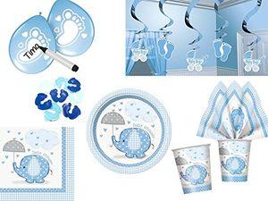 deals for - 44 tlg partyset für babyparty geburt baby boy junge blau deko und geschirr elefant