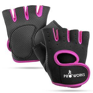 Angebote für -proworks frauen fingerlose handschuhen mit gepolsterter griffseite zum gewichtheben crosstraining heimtraining und mehr schwarz mit pinker trimmung klein