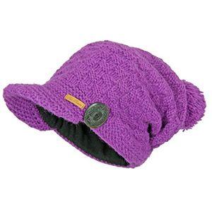 deals for - mcron wollmütze mika violett für damen beanie warm gefüttert mit weichem fleece strickmütze mit schirm wintermütze mit bommel