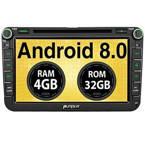 pumpkin android 80 autoradio 4gb dvd player für vw mit navi 8 zoll bildschirm unterstützt bluetooth dab wlan 4g android auto usb microsd subwoofer mirrorlink av out fastboot 2 din