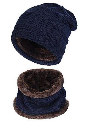 Top beaii herren wintermütze winterschal warm beanie strickmütze und schal mit fleecefutter