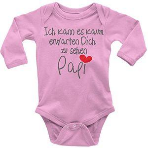 mikalino babybody ich kann es kaum erwarten dich zu sehen papi langarm farberosa grösse62