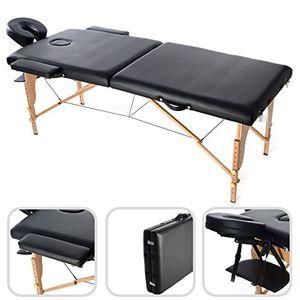 ofertas para - todeco mesa de masajes plegable mesa de terapia profesional tamaño 186 x 71 x 62 cm alto ajustable 62 83 cm negro con reposacabezas reposabrazos bolsa de transporte pata de madera 2 secciones plegables
