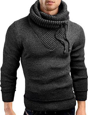 grinbear slim fit schalkragen pullover grobstrick strickjacke herren anthrazit l gec555