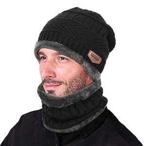 Angebote für -goodbuy wintermütze herren warm beanie mützen strickmütze mit schal de fleecefutter schwarz