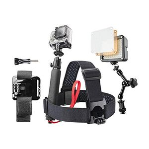Buy mantona gopro set konzert und party inkl kopfgurt handstativ armbefestigung led video leuchte