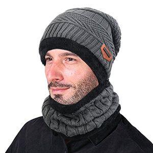 goodbuy wintermütze herren warm beanie mützen strickmütze mit schal de fleecefutter grau