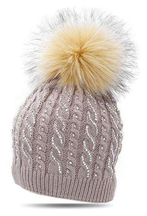 Buy damen wintermütze strickmütze herz strass fellbommel flecce 17 05 von fashionshine24 beigh