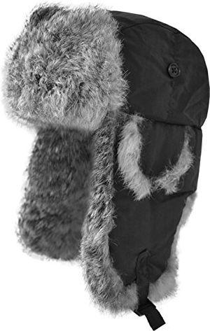 deals for - fellmütze mit grauem kaninchenfell und steppfütterung farbe schwarz größe l
