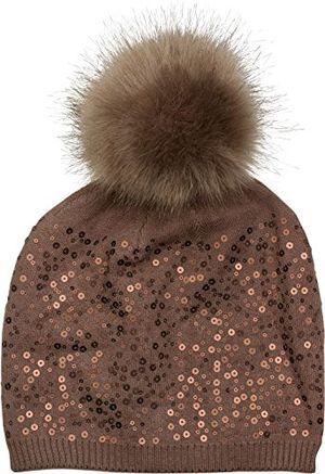 Angebote für -stylebreaker feinstrick bommelmütze mit pailletten und abnehmbarem kunstfell bommel fellbommel mütze damen 04024134 farbebraun