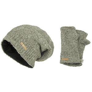 Angebote für -set wollmütze lina naturbraun und pulswärmer für damen wollmütze beanie slouch strickmütze wintermütze warm gefüttert
