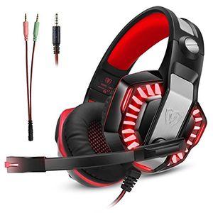 gaming headset kopfhörer gamer mit mikrofon micolindun für pc ps4 xbox one laptop tablet mac handy mit led extremer komfort bass stereo sound inkl adapter