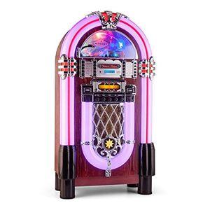 Cheap auna graceland xxl bt • jukebox • retro musikbox • bluetooth • mp3 fähiger cd player • usb port • sd karten slot • aux eingang • ukw radio • 2 band equalizer • led beleuchtung • violett
