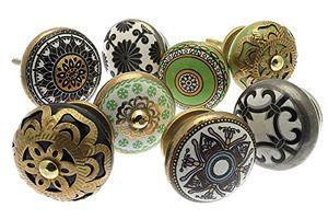 deals for - schrankknöpfe set shabby chic vintage style keramik 8er packung mango 127