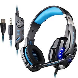 photos of Gaming Headset Für PS4 Xbox One PC Laptop Mobile Phones Professional Surround Sound Kopfhörer 3.5mm LED Light Over Ear Kopfhörer Mit Mikrofon Blau Pro Cons Kaufen   model Video Games