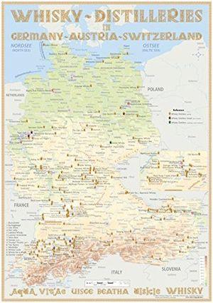 Angebote für -whisky distilleries germany austria switzerland tasting map 24x34cm laminierte landkarte der whisky destillerien in deutschland österreich und schweiz incl liechtenstein