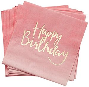 deals for - pick and mix gold foiled pink ombre happy birthday paper napkins papierserviette