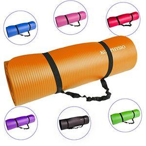 deals for - rutschfeste yogamatte von kg physio dicke premium gymnastikmatte fürs fitnessstudio pilates oder zuhause mit schultertragegurt auf der innenseite der matte 183 cm x 60 cm x 1 cm orange