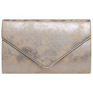 deals for - caspar ta349 damen elegante envelope clutch tasche abendtasche mit langer kette farbetaupegrößeone size