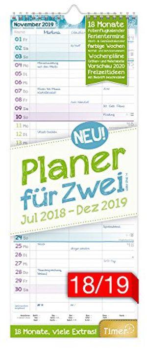 planer für zwei 20182019 17x42cm 3 spalten wandkalender 18 monate juli 2018 dezember 2019 wandplaner chäff timer ferientermine viele zusatzinfos