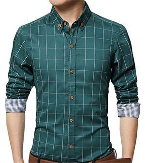 Cheap aiyino herren casual hemd slim fit langarm shirts freizeit baumwolle 5 farben größen xs xl small grün
