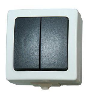 Top kopp nautic serienschalter mit 2 wippen aufputz lichtschalter für feuchtraum 250v 10a ip44 basiselement mit komplettgehäuse herausnehmbarer sockel für 2 leuchtmittel grau 565556008