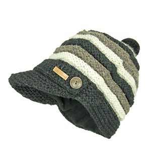 Angebote für -mcron wollmütze nele für damen schwarz gestreift schildmütze strickmütze mit weichem fleece gefüttert wintermütze mit schirm