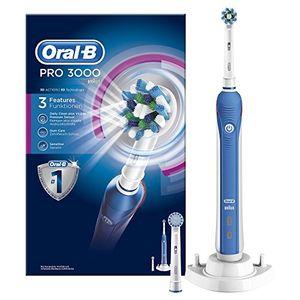 Oral-B Pro 3000 - Cepillo de dientes eléctrico de rotación, color blanco y azul Guía