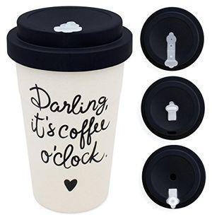 deals for - holi coffee to go bambus becher mit schraubdeckel verschluss möglichkeit woodcup kaffeebecher mehrweg becher bamboo cup lebensmittelecht spülmaschinenfest darling new black