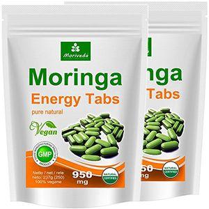 Calientes Moringa 500 Energía Tabs 950mg, 100% naturales, non cápsulas (2x250 tabletas) ofertas especiales