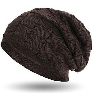 compagno warm gefütterte beanie wintermütze flechtmuster unifarben oder meliert mit weichem fleece futter mütze farbebraun