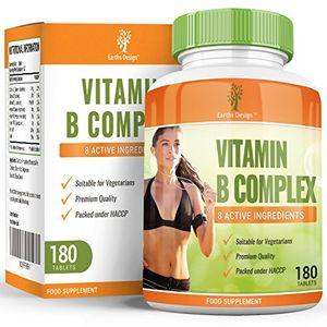 Vitaminas Complejo B - Vit B1 B2 B3 B5 B6 B12 - Con Biotina y Ácido Fólico - Para Hombres y Mujeres - Apto Vegetarianos - 180 Pastillas (Suministro Para 6 Meses) de Earths Design Guía