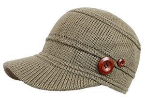 Buy schirmmütze damen mütze strickmütze warme wintermütze mit holzknopf in 4 farben a080 a090 beige